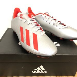 adidas X 19.4 FxG Soccer Cleats Shoes Silver Red